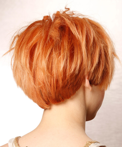 Short Straight Alternative Hairstyle - Orange Hair Color - side on view