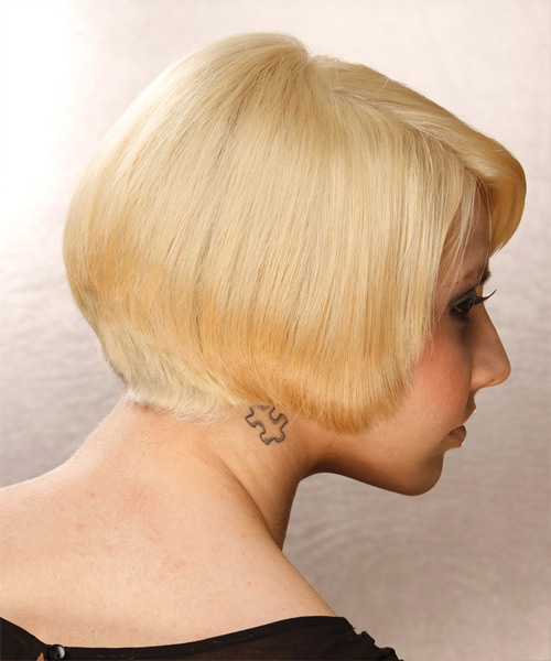 Short Straight Formal Bob Hairstyle - Medium Blonde (Golden) Hair Color - side on view