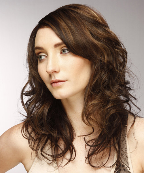 Long Wavy Casual  with Side Swept Bangs - Dark Brunette (Chestnut) - side on view