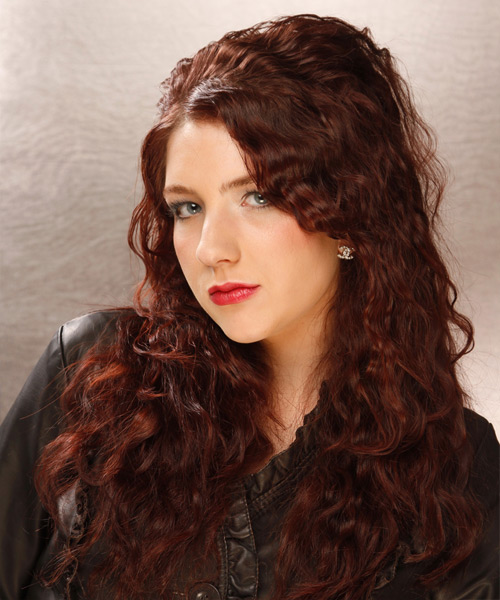 Long Curly Casual  - Dark Red (Auburn) - side on view