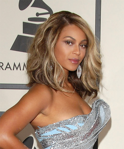 Beyonce Knowles Long Wavy Formal Hairstyle - Medium Brunette Hair Color - side on view