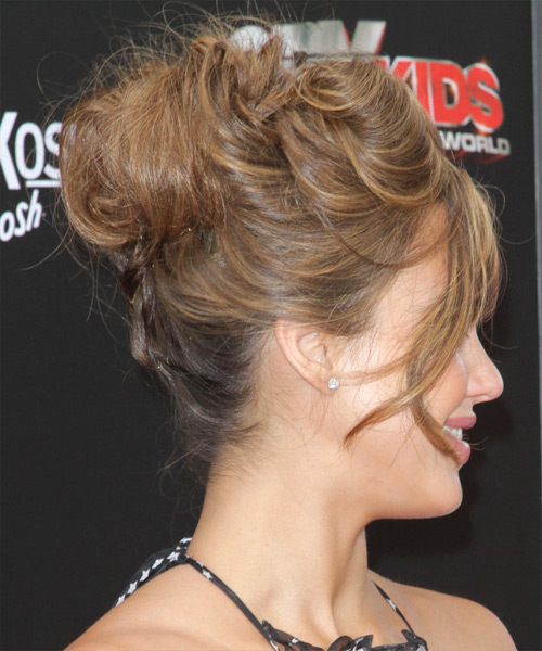 Jessica Alba Curly Formal Updo Hairstyle with Side Swept Bangs - Medium Brunette Hair Color - side on view
