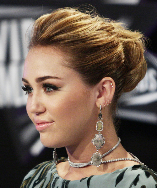 Miley Cyrus Curly Formal Updo Hairstyle - Medium Brunette Hair Color - side on view