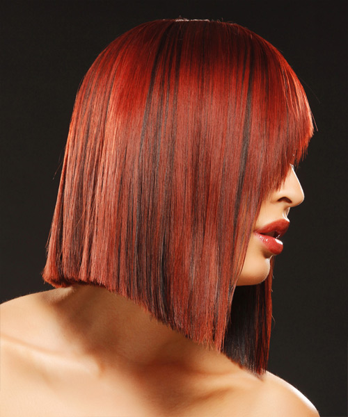 Medium Straight Alternative Bob Hairstyle - Dark Red - side view