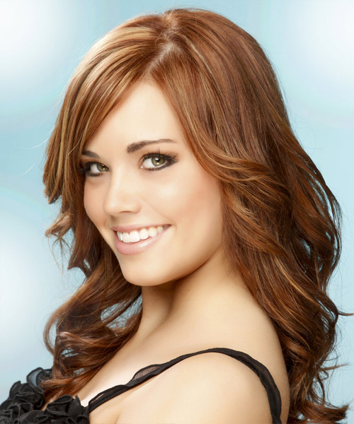 Long Wavy Formal Hairstyle - Medium Red (Copper) Hair Color - side on view