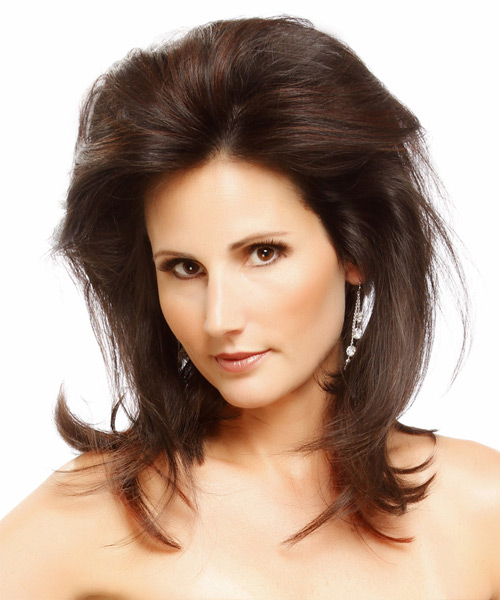 Long Straight Casual Hairstyle - Dark Brunette (Mocha) Hair Color - side on view
