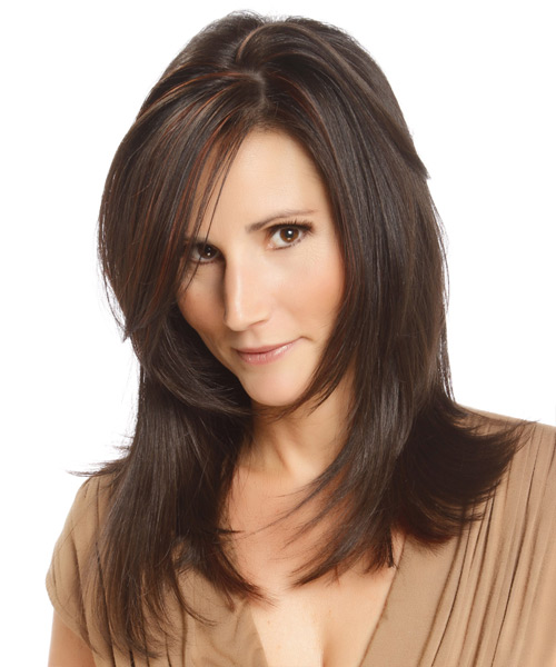 Long Straight Formal Hairstyle - Dark Brunette - side view 2