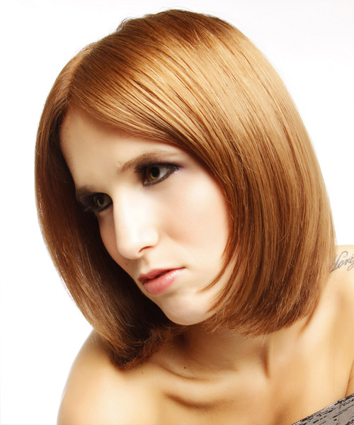 Medium Straight Formal Hairstyle - Medium Red (Copper) - side view 2
