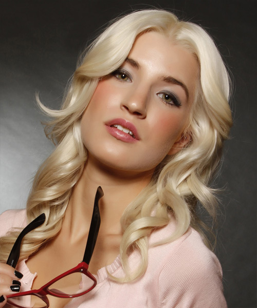 Long Wavy Formal Hairstyle - Light Blonde (Platinum) Hair Color - side on view