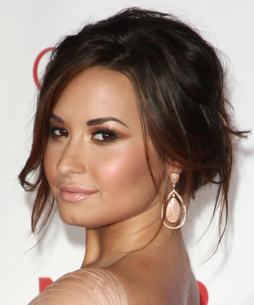 Demi Lovato Curly Casual Updo Hairstyle with Side Swept Bangs - Dark Brunette (Mocha) Hair Color - side on view