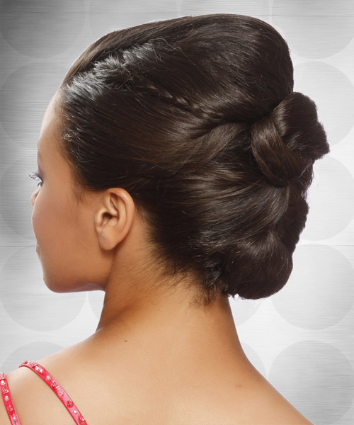 Formal Straight Updo Hairstyle - Medium Brunette (Mocha) - side view 2
