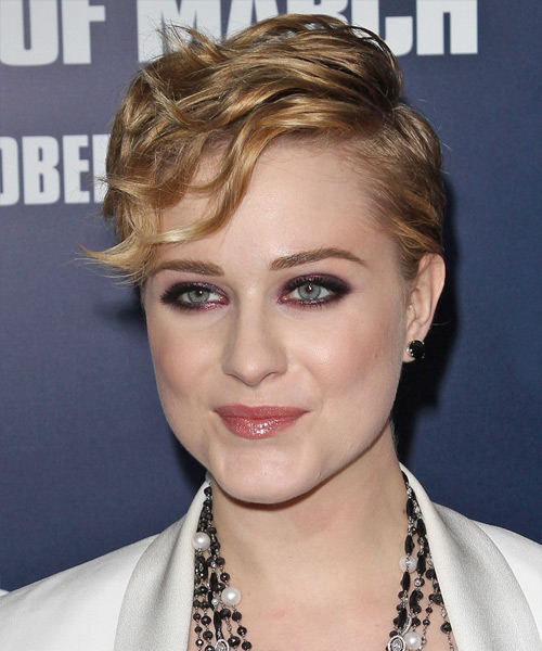Evan Rachel Wood Short Wavy Formal  with Side Swept Bangs - Dark Blonde (Honey) - side on view