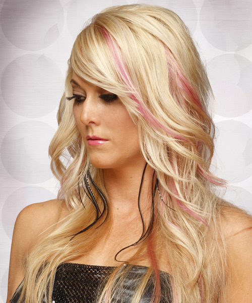 Long Straight Formal  with Side Swept Bangs - Light Blonde (Champagne) - side on view