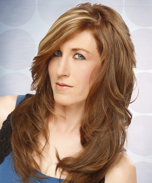Long Straight Formal Hairstyle - Light Brunette (Caramel) Hair Color - side on view