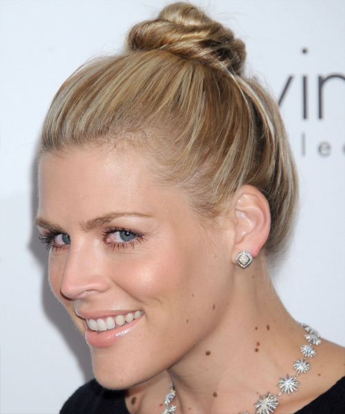 Updo straight casual hairstyle medium blonde thehairstyler com