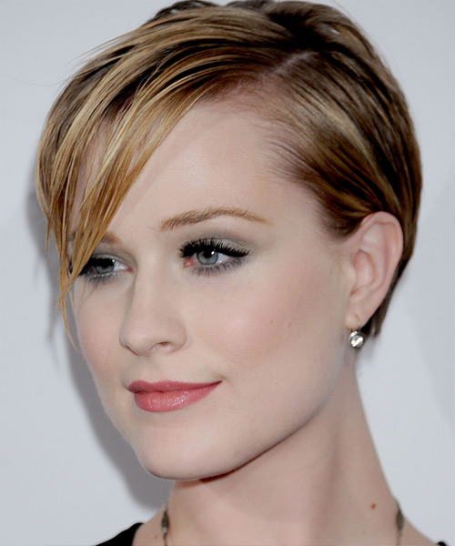 Evan Rachel Wood Short Straight Casual  with Side Swept Bangs - Light Brunette (Caramel) - side on view