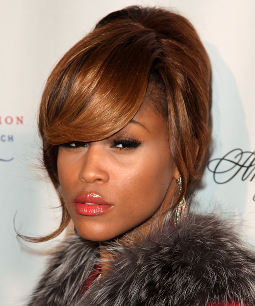 Eve Straight Formal Updo Hairstyle with Side Swept Bangs - Medium Brunette (Copper) Hair Color - side on view