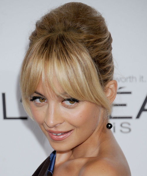Nicole Richie Updo Long Straight Formal Wedding Updo with Layered Bangs - Dark Blonde - side on view
