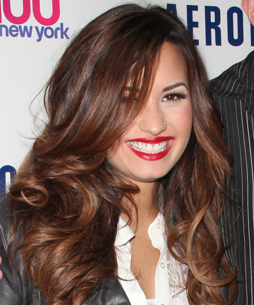Demi Lovato Long Wavy Hairstyle - Dark Brunette (Auburn) - side view 2