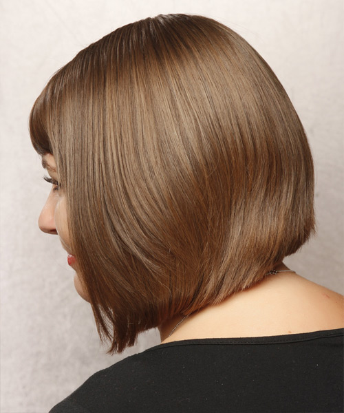 Medium Straight Formal Hairstyle with Side Swept Bangs - Light Brunette (Chestnut) Hair Color - side on view
