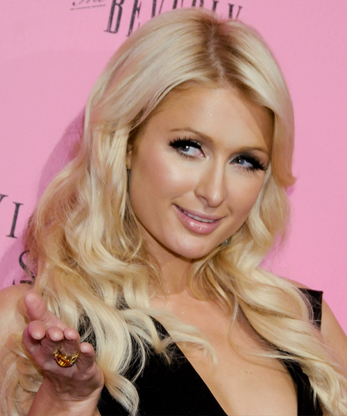 Paris Hilton Long Wavy Casual Hairstyle - Light Blonde (Honey) Hair Color - side on view