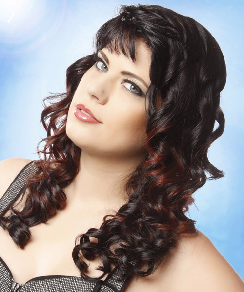 Long Curly Formal  with Blunt Cut Bangs - Dark Brunette - side on view