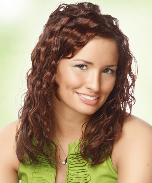 Long Wavy Casual Hairstyle - Dark Brunette (Auburn) - side view
