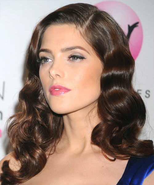 Ashley Greene Long Wavy Formal Hairstyle - Medium Brunette (Chocolate) Hair Color - side on view