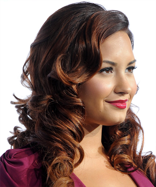 Demi Lovato Long Curly Formal Hairstyle with Side Swept Bangs - Black Hair Color - side on view