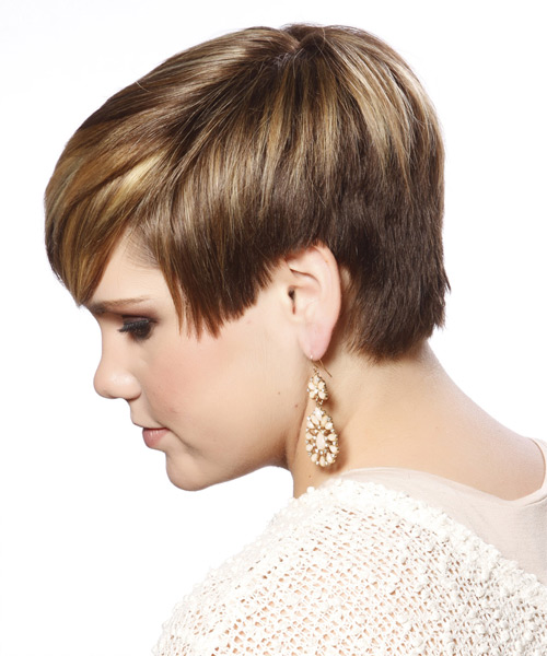 Short Straight Casual Hairstyle with Side Swept Bangs - Dark Blonde Hair Color - side on view