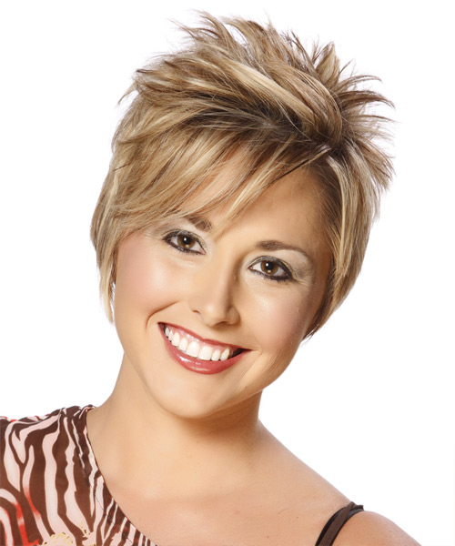 Short Straight Formal Hairstyle with Side Swept Bangs - Medium Blonde (Caramel) Hair Color - side on view