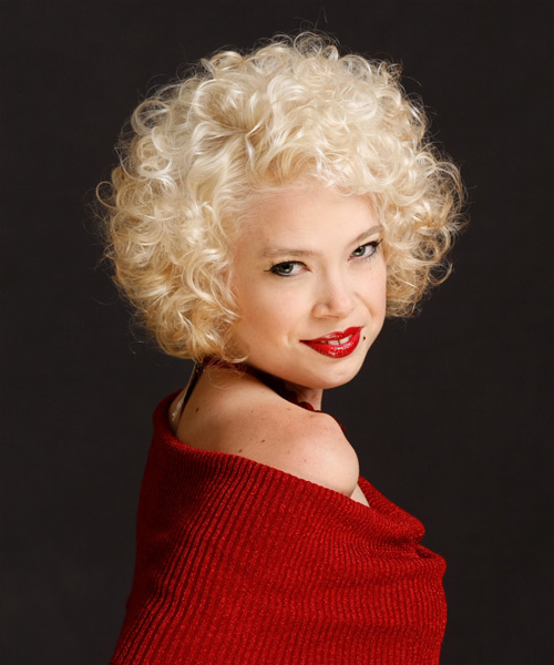Short Curly Formal  (Platinum) - side on view