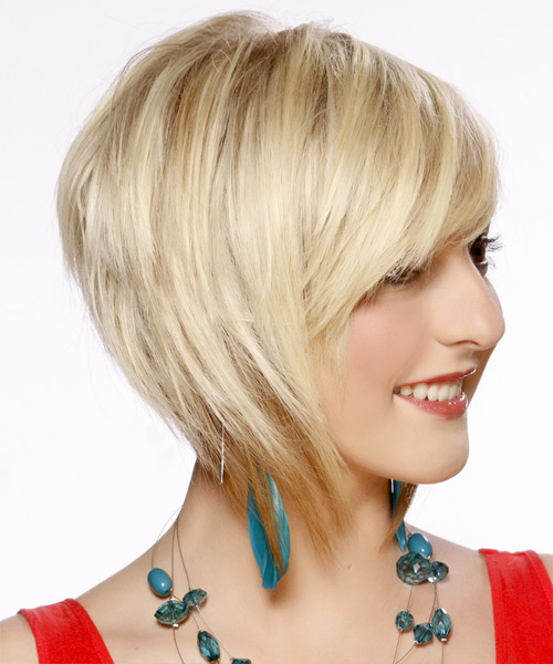 Short Straight Formal Bob Hairstyle with Side Swept Bangs - Light Blonde (Platinum) Hair Color - side on view