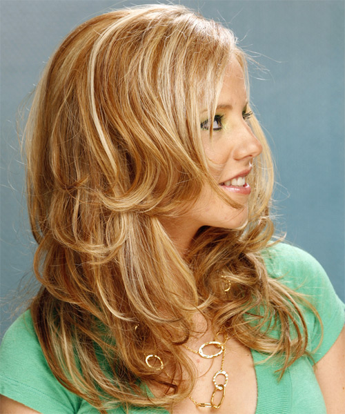 Long Wavy Formal Hairstyle - Medium Blonde (Golden) Hair Color - side on view