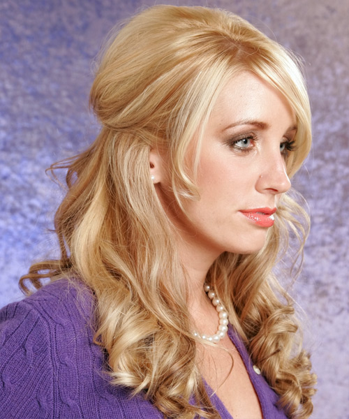 Half Up Long Curly Formal Hairstyle - Light Blonde - side view 2