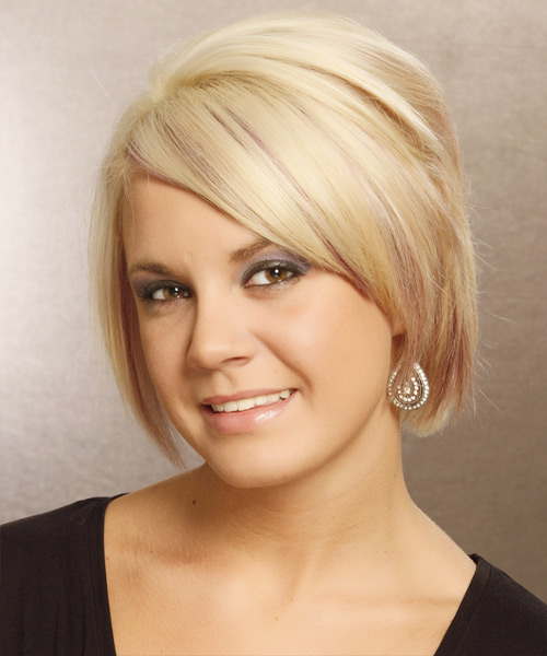 Short Straight Formal Bob Hairstyle with Side Swept Bangs (Golden) - side on view