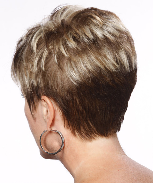 Short Straight Formal Hairstyle with Layered Bangs - Light Brunette Hair Color - side on view