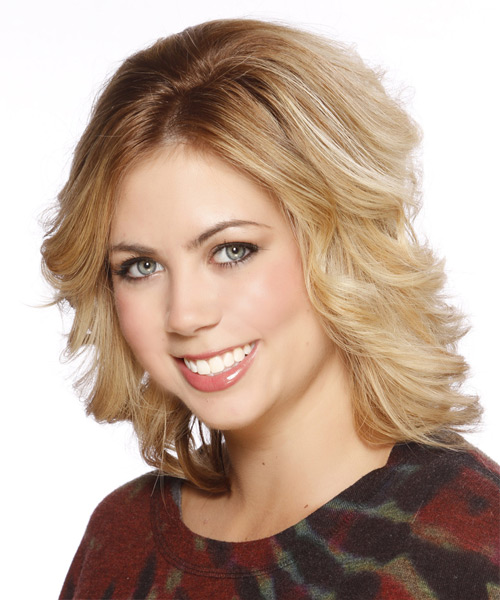 Medium Straight Formal Hairstyle - Medium Blonde (Golden) - side view 2