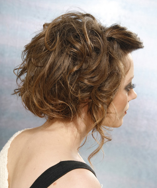 Curly Formal Updo Hairstyle - Medium Brunette (Ash) Hair Color - side on view