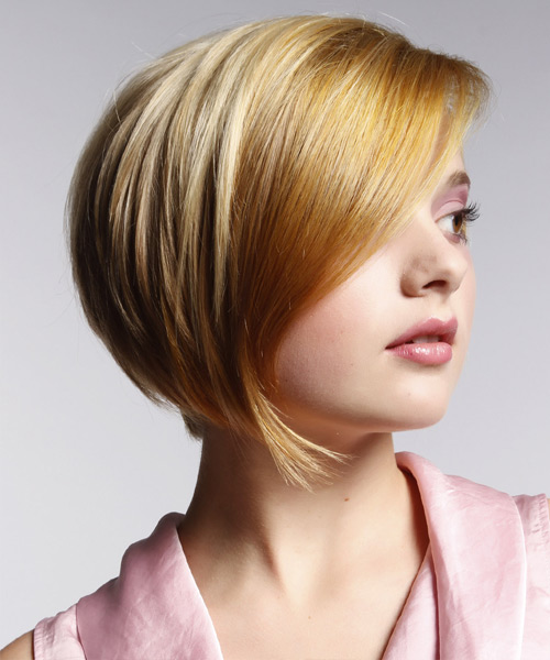 Short Straight Formal Bob Hairstyle with Side Swept Bangs - Medium Blonde Hair Color - side on view