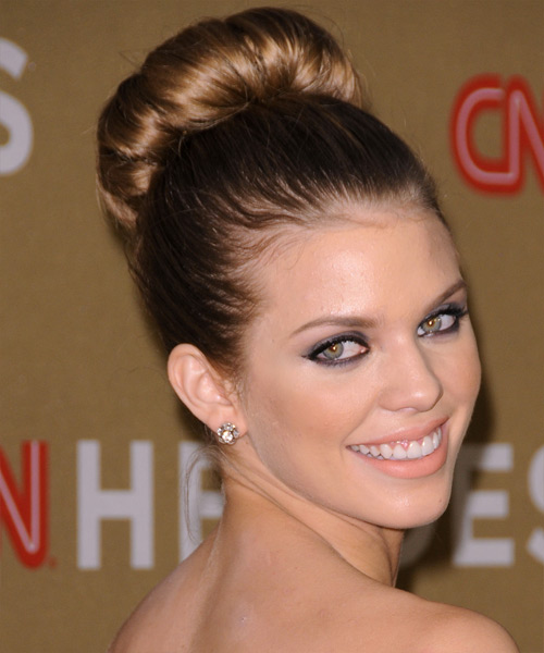AnnaLynne McCord Formal Straight Updo Hairstyle - Light Brunette (Golden) - side view 2