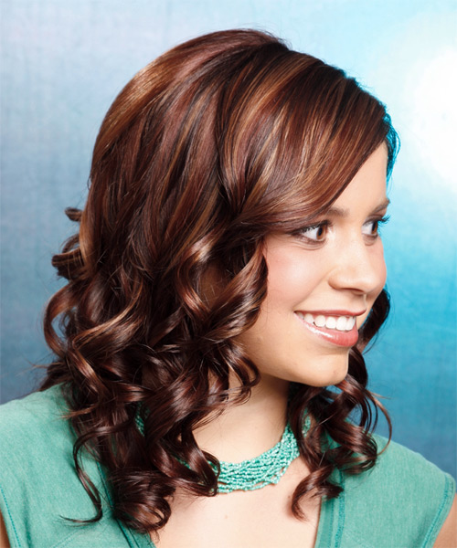 Long Curly Formal Hairstyle - Dark Brunette (Auburn) Hair Color - side on view
