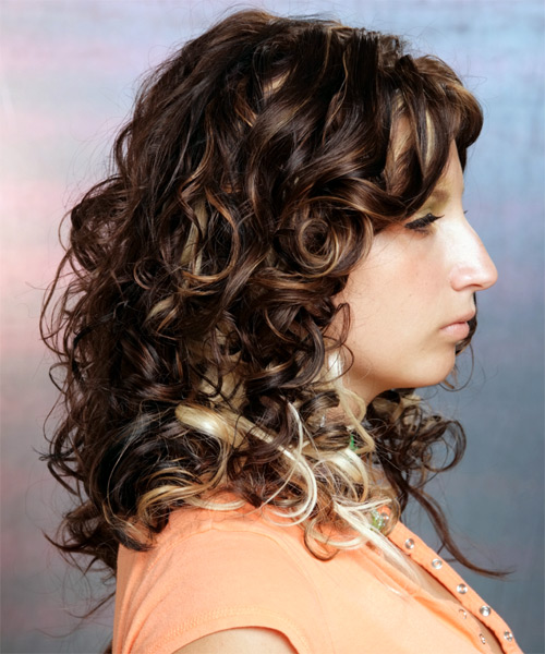 Long Curly Formal Hairstyle (Mocha) - side view