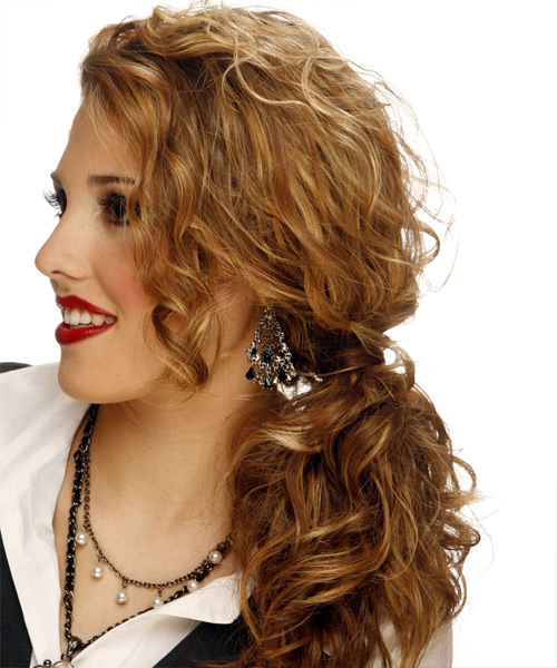Curly Formal Half Up Hairstyle - Dark Blonde (Copper) Hair Color - side on view