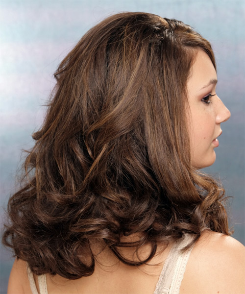 Long Wavy Formal Hairstyle (Chocolate) - side view 2