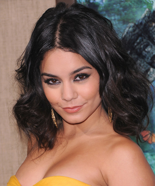 Vanessa Hudgens Medium Wavy Casual Bob Hairstyle - Dark Brunette Hair Color - side on view