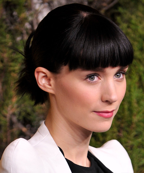 Rooney Mara Straight Casual Updo Hairstyle with Blunt Cut Bangs - Black Hair Color - side on view