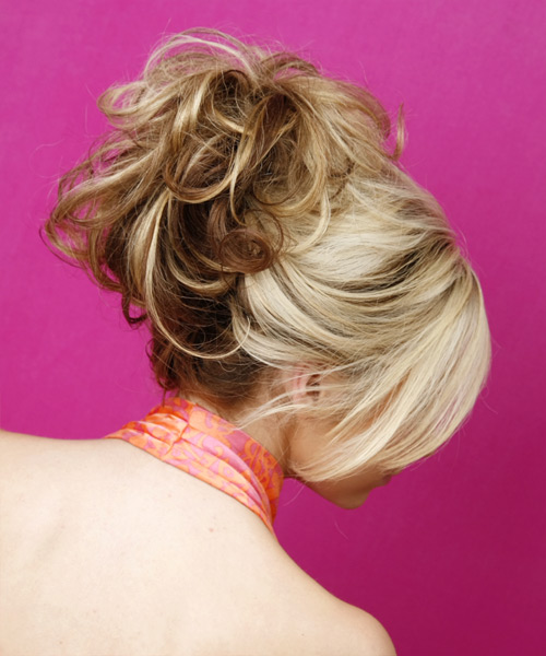 Formal Curly Updo Hairstyle - Light Blonde - side view