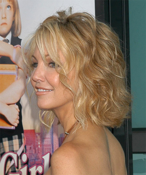 Heather Locklear Medium Wavy Formal Hairstyle - side on view