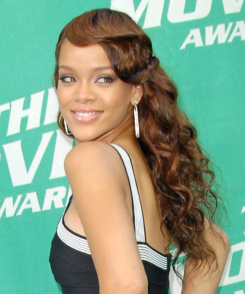 Rihanna Long Curly Formal Hairstyle - Light Brunette Hair Color - side on view